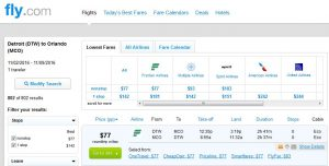 DTW-MCO: Fly.com Search Results