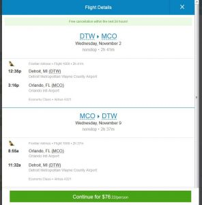 DTW-MCO: Priceline Booking Page