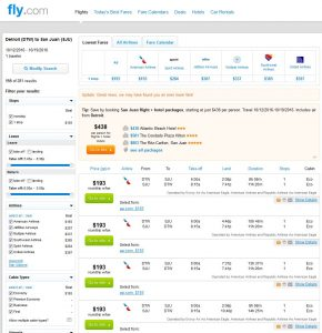 DTW-SJU: Fly.com Search Results ($193)