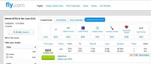 DTW-SJU: Fly.com Search Results ($233)