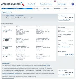 DTW-STT: American Airlines Booking Page