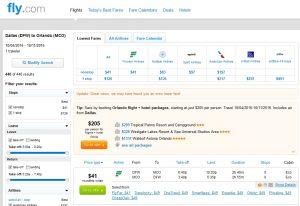 Dallas to Orlando: Fly.com Results