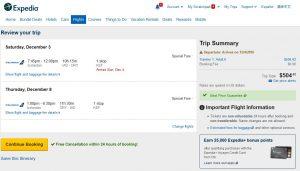 IAD-PAR: Expedia Booking Page (Dec)