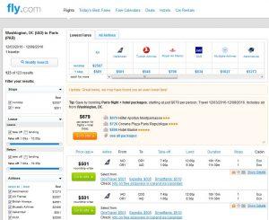 IAD-PAR: Fly.com Booking Page (Dec)