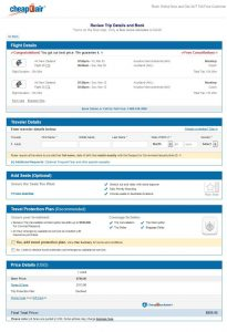 IAH-AKL: CheapOair Booking Page (March)