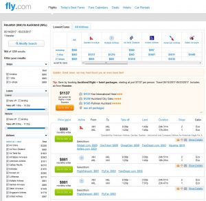IAH-AKL: Fly.com Search Results (May)