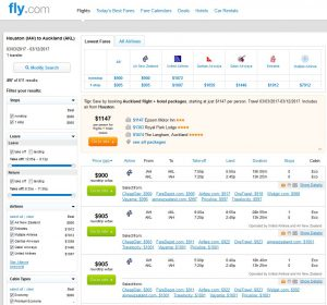 IAH-AKL: Fly.com Search Results (March)