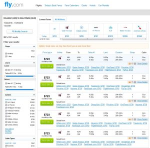 IAH-AUH: Fly.com Search Results