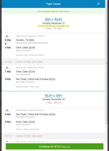 IAH-AUH: Priceline Booking Page
