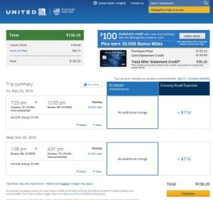 IAH-BOS: United Airlines Booking Page