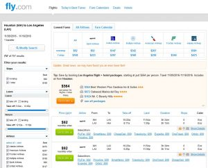 IAH-LAX: Fly.com Search Results