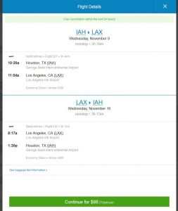 IAH-LAX: Priceline Booking Page