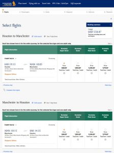 IAH-MAN: Singapore Airlines Booking Page