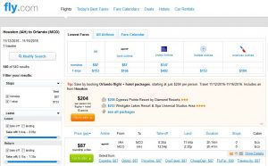 IAH-MCO: Fly.com Search Results