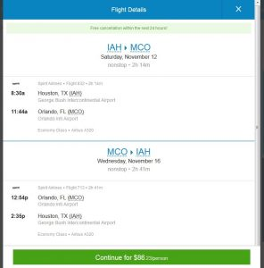 IAH-MCO: Priceline Booking Page