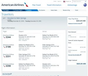 IAH-PSP: American Airlines Booking Page