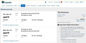 IAH-SAN: Expedia Booking Page ($114)