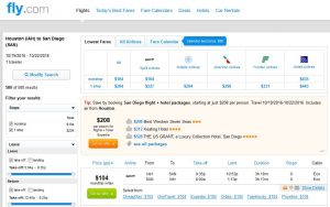 IAH-SAN: Fly.com Search Results ($104)