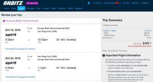 IAH-SAN: Orbitz Booking Page ($104)
