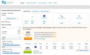 IAH-SJU: Fly.com Search Results