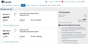 IAH-TPA: Expedia Booking Page