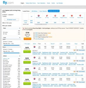 LAX-HKG: Fly.com Search Results