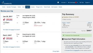 LAX-HKG: Travelocity Booking Page