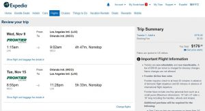 LAX-MCO: Expedia Booking Page ($177)