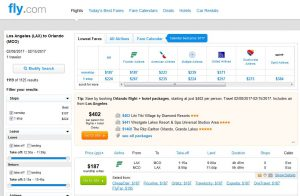 LAX-MCO: Fly.com Search Results ($187)