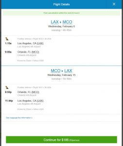 LAX-MCO: Priceline Booking Page ($187)