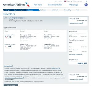 Los Angeles to Boston: American Airlines Booking Page