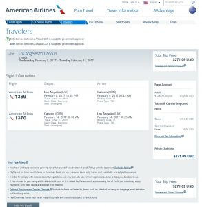 Los Angeles to Cancun: American Airlines Booking Page