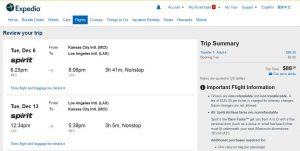 MCI-LAX: Expedia Booking Page