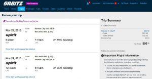 MCI-LAS Orbitz Booking Page