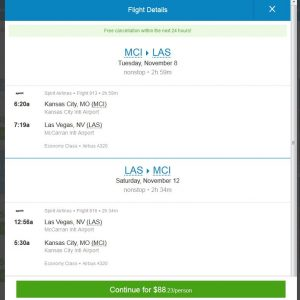 MCI-LAS: Priceline Booking Page