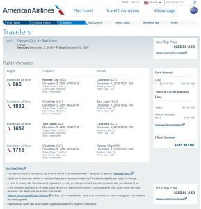 MCI-SJU: American Airlines Booking Page