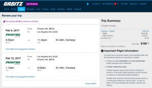 MCO-LAX: Orbitz Booking Page ($187)