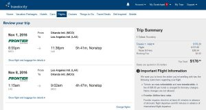 MCO-LAX: Travelocity Booking Page ($177)