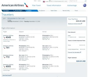 MKE-SJU: American Airlines Booking Page