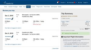 MSP-FRA: Travelocity Booking Page