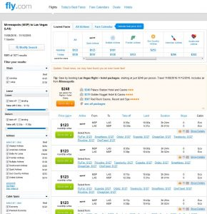 MSP-LAS: Fly.com Search Results
