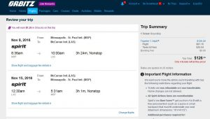 MSP-LAS: Orbitz Booking Page