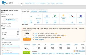 MSP-MCO: Fly.com Search Results ($161)