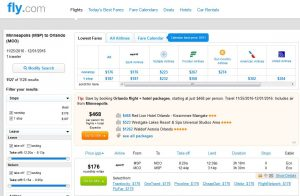 MSP-MCO: Fly.com Search Results ($176)