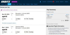 MSP-MCO: Orbitz Booking Page ($176)