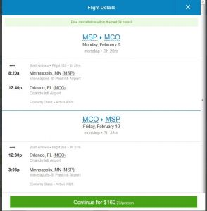 MSP-MCO: Priceline Booking Page ($161)