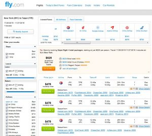 NYC-TPE: Fly.com Search Results