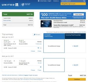 NYC to Brussels: United Booking Page