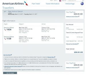 NYC to Cancun: American Airlines Booking Page