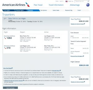 NYC to Las Vegas: American Airlines Booking Page